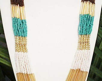 Teal, White, Gold and Brown Long Statement Necklace / Multi Strand Necklace.