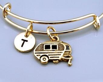 Travel trailer bangle, Trailer bracelet, Caravan, RV trailer, Expandable bangle, Personalized bracelet, Charm bangle, Initial bracelet