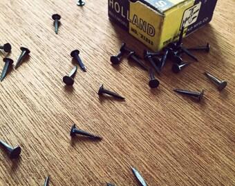 vintage tacks, upholstery tacks, hardware nails, art supplies