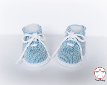 Baby Knitted Booties, Baby Sneakers, Hand Knit Booties, Baby Booties, Made to Order, Choice of colors