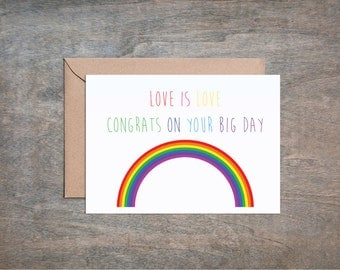 love is love wedding card gay wedding card lgbt card lesbian wedding card