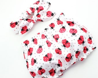 Baby Bloomers and headband set in ladybugs - great gift idea!