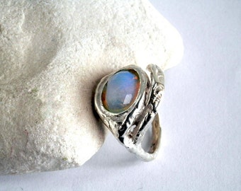 Opalite rings, Silver opalite ring, 925 silver ring, Cocktail ring, Israeli Jewelry, Statement silver ring, Gift for her, Large silver ring