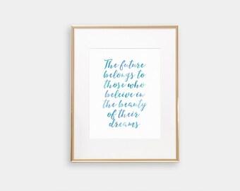 Digital print, Eleanor Roosevelt, inspirational quote, watercolor print, blue, instant download