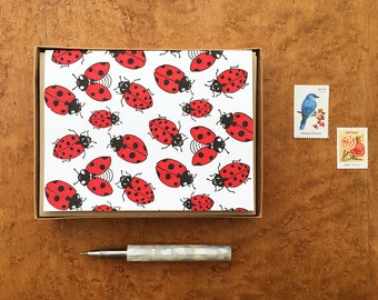 Ladybugs, Boxed Set of 8 Letterpress Note Cards, Blank Inside