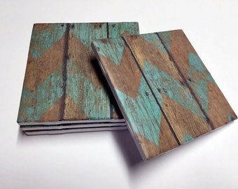 Teal Chevron Coasters - Wood Design - Teal Home Decor - Drink Coasters - Tile Coasters - Ceramic Coasters - Table Coasters On Sale