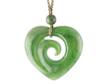 Canadian Nephrite Jade Pendant, Koru/Heart 2890