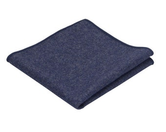 Dark Blue Wool Pocket Square.Solid Blue Wool Handkerchief.