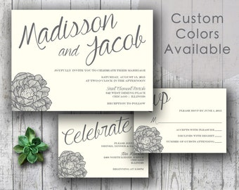 Printable Wedding Invitations, Floral Wedding Invitations, Rustic Country Wedding Set, Large Bride and Groom Names (Your Choice in Colors!)
