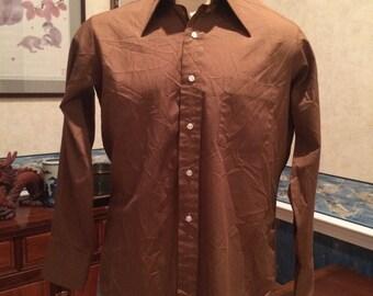 1970s Dress Shirt- Mens - Chocolate Brown - Arrow Kent Collection - Medium