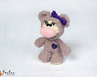 Crochet plush bear, teddy bear, amigurumi bear, crochet animal, stuffed bear, softie bear - Viola the Girl-bear