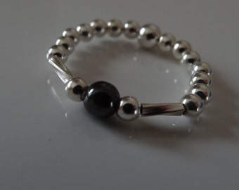 hematite silver stretch ring sterling silver stacking rings