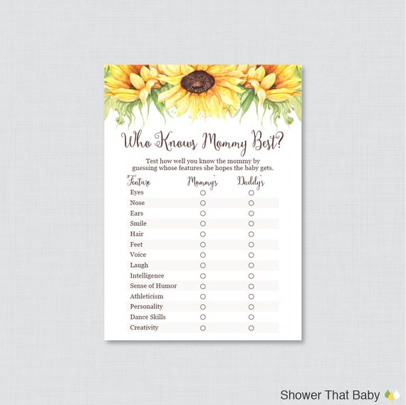 sunflower baby shower who knows mommy best printable yellow