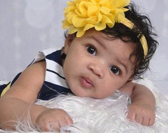 Yellow Baby Headband, Baby Flower Headband, Chrysanthemum Headband, Chiffon Flower Headband, Newborn Toddler Headband, Flower Girl Headband