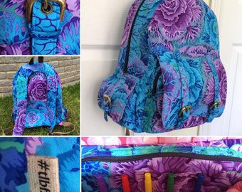Child's Rucksack, Child's Backpack, Child's bag, Bags and purses, Kaffe Fassett bag, Kaffe Fassett fabric, brassica, Philip Jacobs fabric