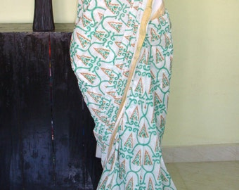 Indian cotton saree/kerala cotton saree with unstitched blouse