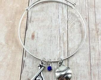 Baseball Charm Bracelet, Baseball Bangle Bracelet, Bangle Charm Bracelet, Baseball Jewelry, Baseball Bracelet, Sports Jewelry, Baseball Mom