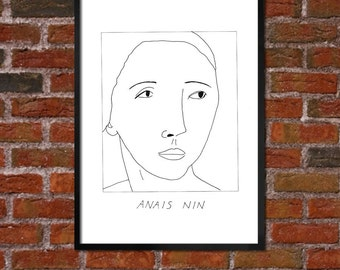 Badly Drawn Anais Nin - Literary Poster - *** BUY 4, GET A 5th FREE***