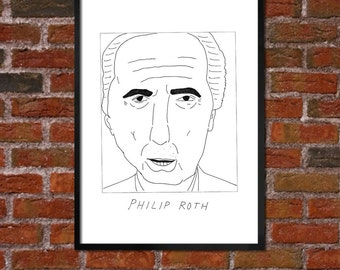 Badly Drawn Philip Roth - Literary Poster - *** BUY 4, GET A 5th FREE***