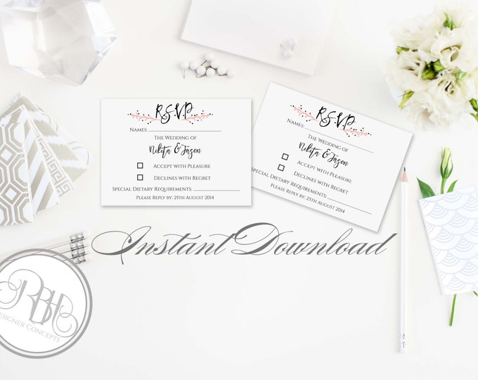 Rustic Pink Wreath RSVP Card Reply Template-INSTANT DOWNLOAD pdf Text Editable Only - Pink Wreath Reply Card -Kymberley