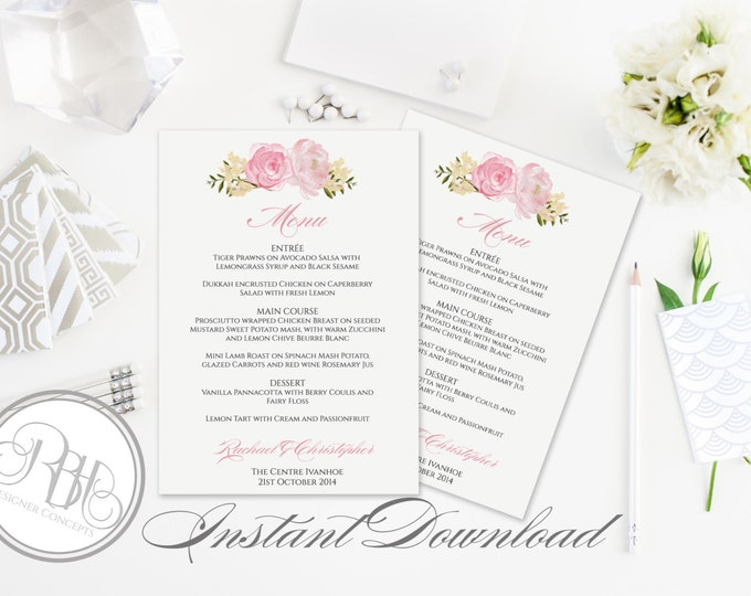 """Pink White Menu Wedding Template - INSTANT DOWNLOAD DIY Text Editable-Watercolor Pink Roses Peonies with white background-Juliet"""""""