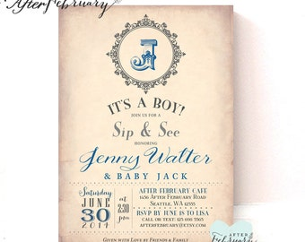 Boy Sip and See Invitation - New Baby Boy Initial Invitation - Vintage Peach Background - Printable OR Printed No.405BABY