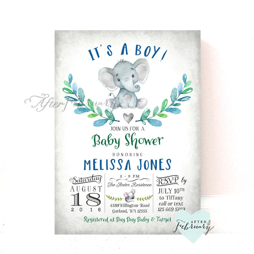 Baby Shower Invitations Wording For Boys: Elephant Baby Shower Invitation Boy Baby Shower Invitation