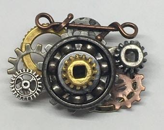 Steampunk Roller Skate Bearing Lapel Pin