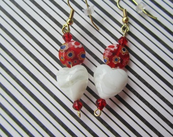 White Heart Earrings, Valentine Earrings, Red Earrings, Valentine Jewelry, Earrings, Valentine Gifts, Mothers Day Gifts,Birthday Gifts,Gifts
