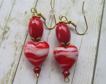Red Heart Earrings, Valentine Earrings, Red Stripe Earrings, Red Earrings, Heart Earrings, Mothers Day Gifts, Birthday Gifts Women, Earrings