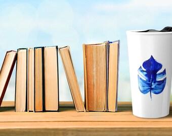 ceramic travel mug, botanical mug, ceramic mug, tropical leaves, fern print, coffee mug, small gifts, watercolor painting, blue  floral