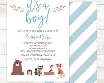 Woodland Baby Boy Shower Invitation, Woodland It's a Boy Invitation, Woodland Invitation, Woodland Baby Boy Shower, Forest Baby Shower