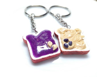 Peanut Butter and Grape Jelly Necklaces, BFF jewelry, Polymer Clay Food, Miniature Food Jewelry, French Toast, PB&J, Bff Necklace, Toasts