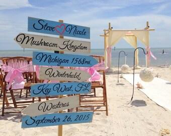 Rustic Directional Wedding Sign, Wood Wedding Beach Decor, Beach Arrow Sign, House Beach Decor