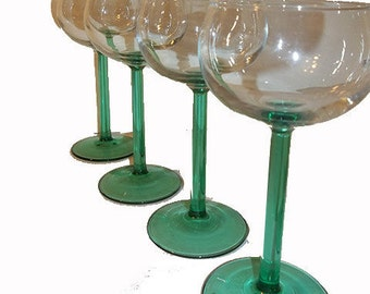 French Wine Glasses With Green Stems