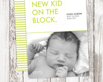 Birth Announcement - NEW KID - Fun - Printable - Personalized - 5x7