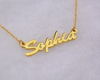 Personalized Script Style Name Necklace,Letter Necklace,Custom Necklace,18k Gold Plated Sterling Silver,Cursive Style,Christmas Gift N031