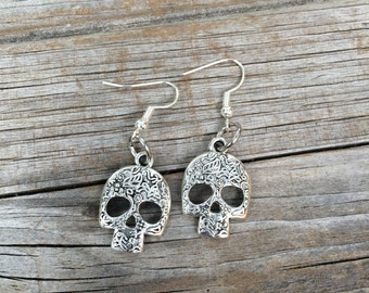 Sugar Skull Earrings, Halloween Earrings, Charm Earrings