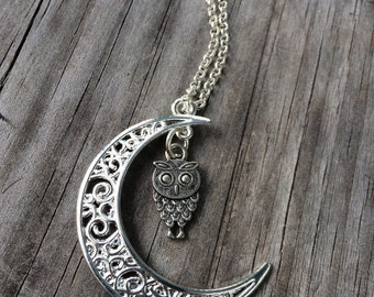 Moon charm necklace, Owl Necklace, Moon necklace, Boho Necklace, Indie Necklace