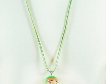 Matryoshka doll, Matryoshka necklace, Matryoshka jewelry, green Matryosjka, Russian doll, Russian necklace, travel earrings, wooden bead