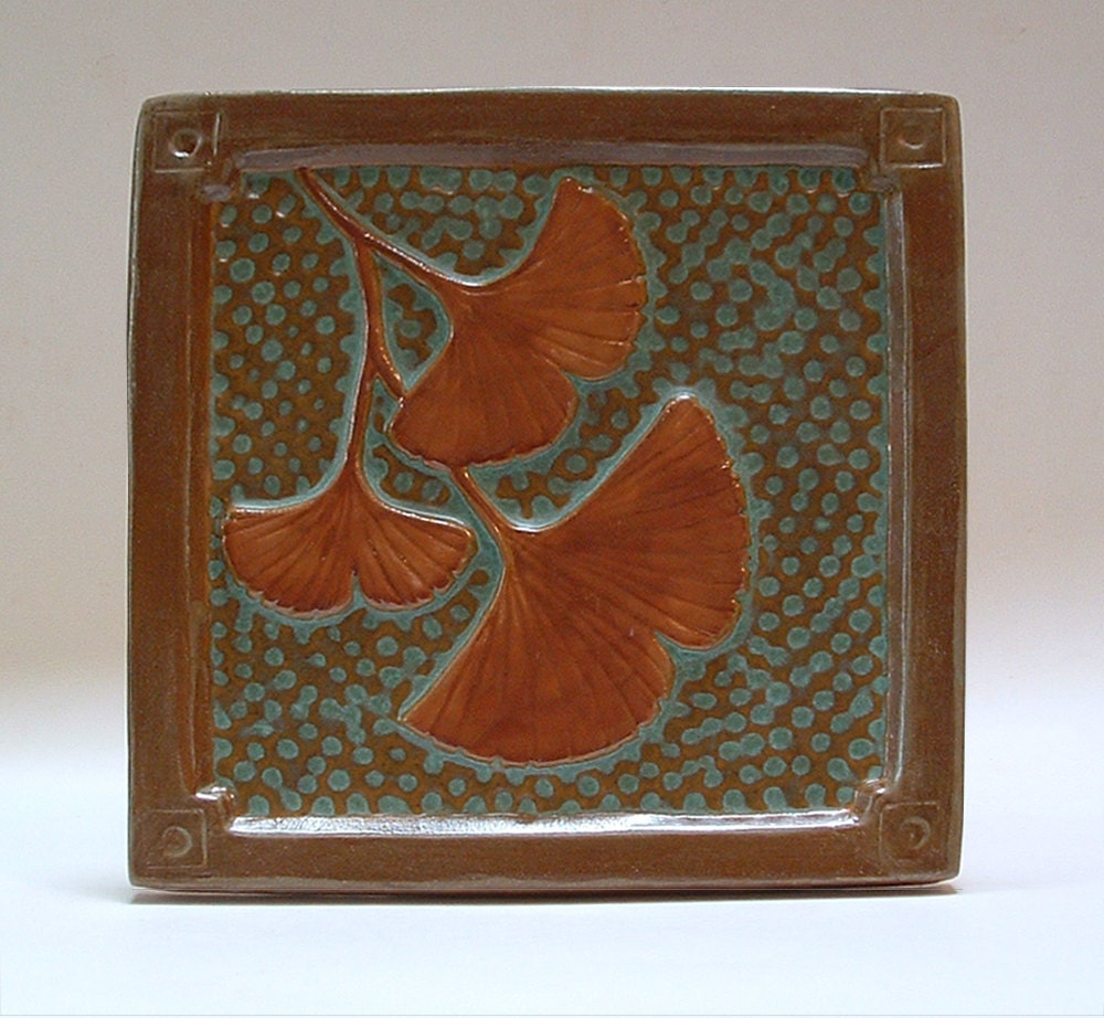 6 inch gingko arts and crafts tile for by fayjonesdaytile for Arts and crafts floor tile