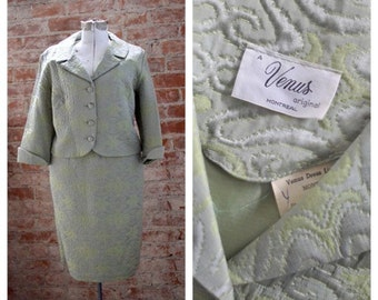 Vintage quilted Skirt Suit, Sage, 1960s, Jackie O suit