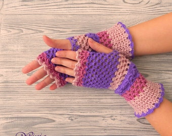 Knitted gloves, crochet fingerless gloves, knitted mittens, arm warmers, pink lilac gloves, crochet mittens, boho mittens, hand knit gloves