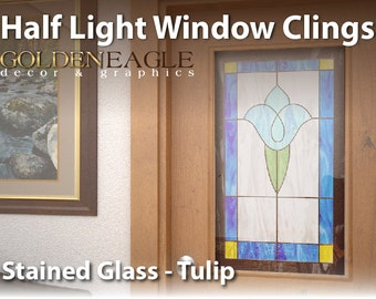 reusable semi privacy stained glass static window film cling cover floral tulip