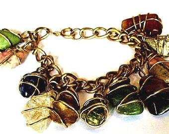 Boho Wirewrap Bracelet - Wirewrapped Tumbled Gemstone Charm Jewelry - 1980's Chic Arm Candy