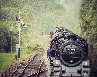 """Steam Train Photography - North Yorkshire Moors Railway - Miniature Style - Vintage - Locomotive - Industrial Photography - """"The Conductor"""""""