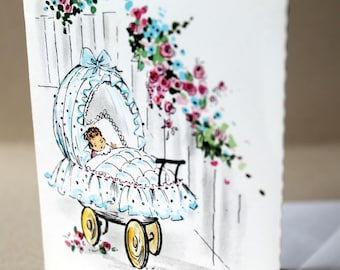 New baby card, congratulations card, baby girl, birth card, congratulations new parents, new parent card, retro baby card, 1960s