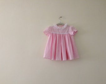 Adorable Vintage Pleated Pink Dress - Size 18m