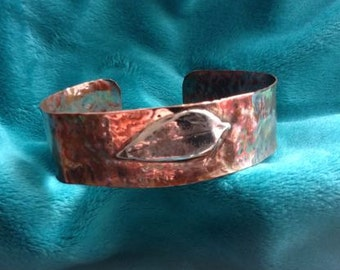 Copper Band, Silver Leaf Band, Adjustable Band, Sterling Silver, Nature Copper Band, Gift Bracelet, One of a Kind, Silver and Copper