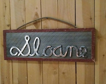 Custom Barn Wood Signs with Horseshoe Letters